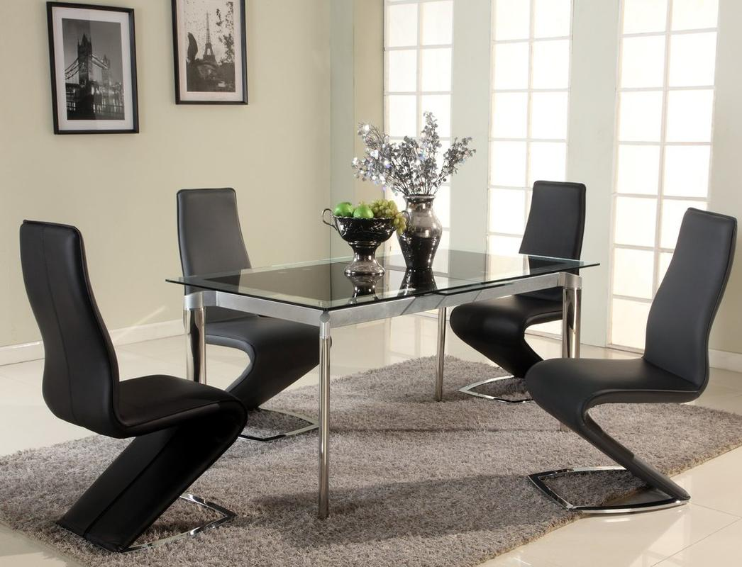 Dark Wood Finish Modern Dining Room W Optional Items: Extendable Glass Top Designer Modern Dining Room Baltimore