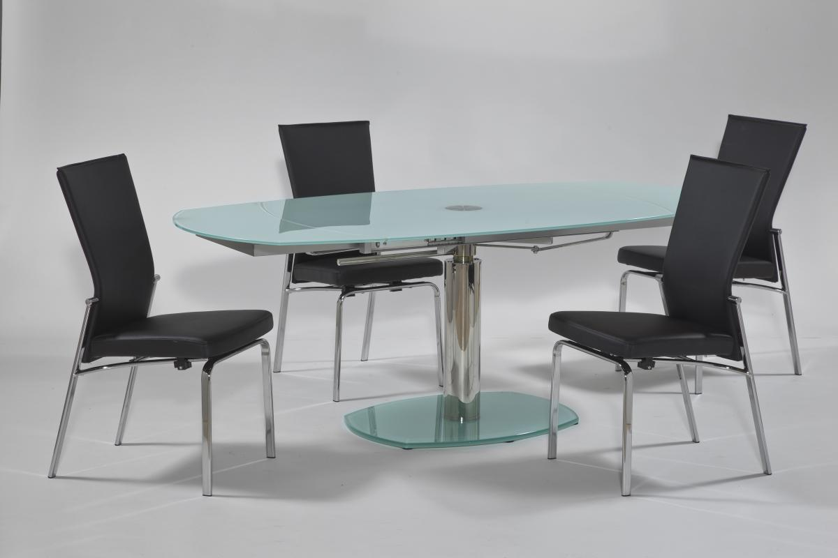 Extendable rounded frosted glass top leather modern dining for Contemporary dining set