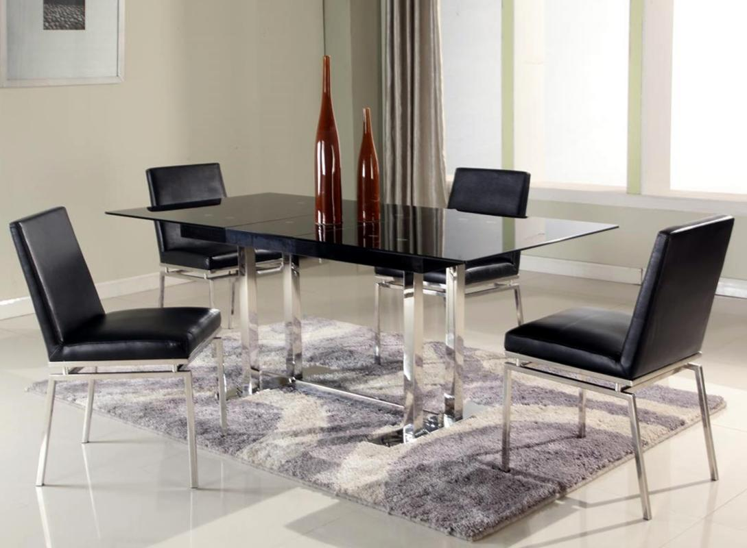 Extendable Glass Top Leather Five Piece Modern Dining