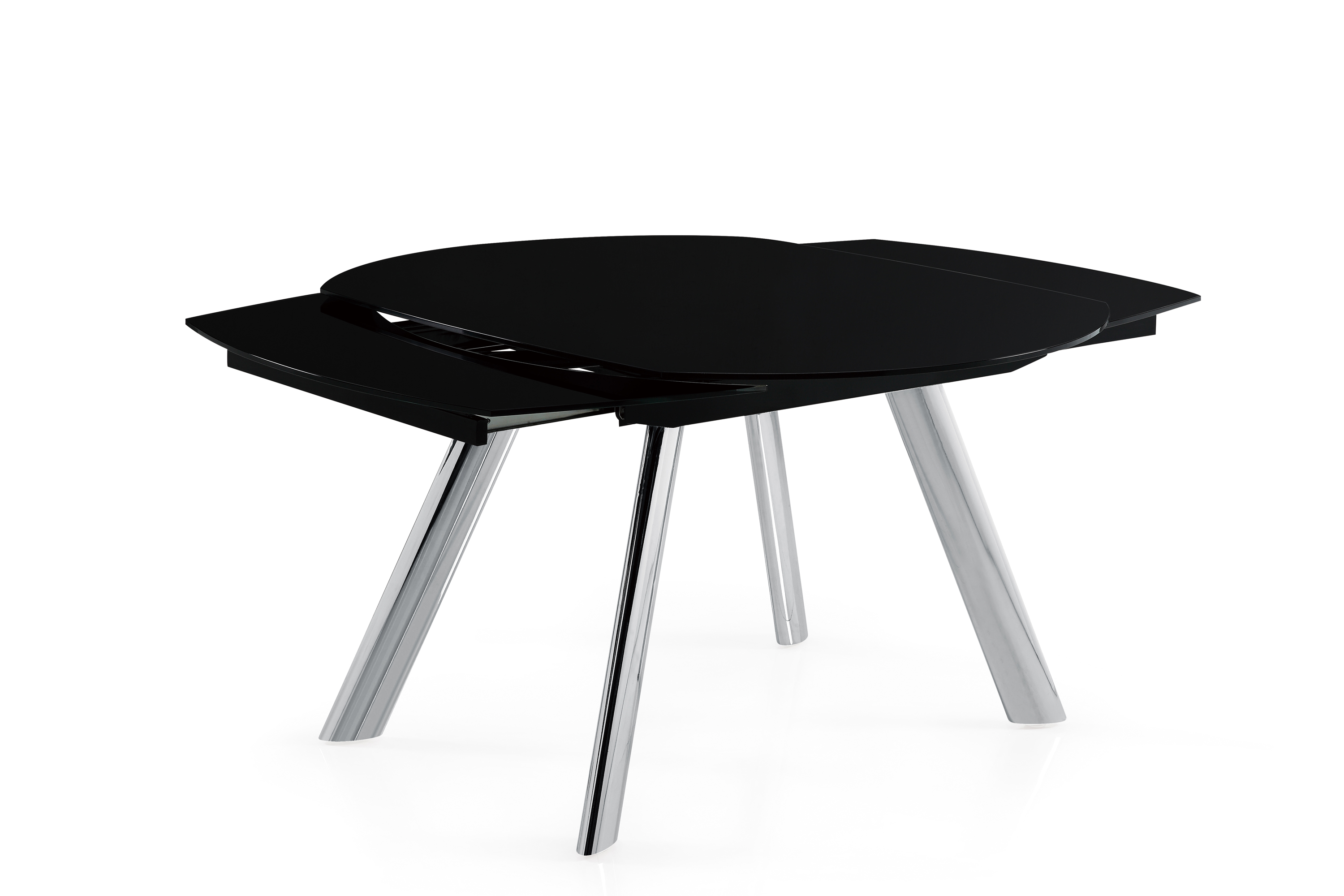 Classic Black Glass and Chrome Table with Leather Black Chairs - Click Image to Close