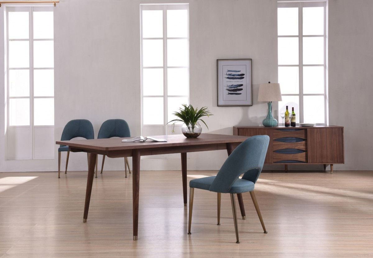 Modern Walnut Dining Table With Antique Brass Feet San
