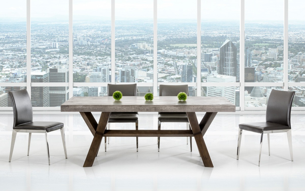 Rectangular concrete and acacia base dining table houston for Contemporary rectangular dining table