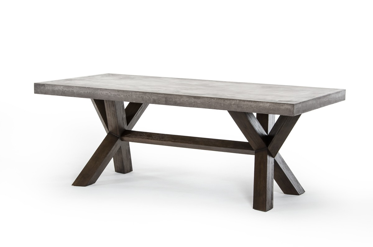 Rectangular Concrete And Acacia Base Dining Table Houston