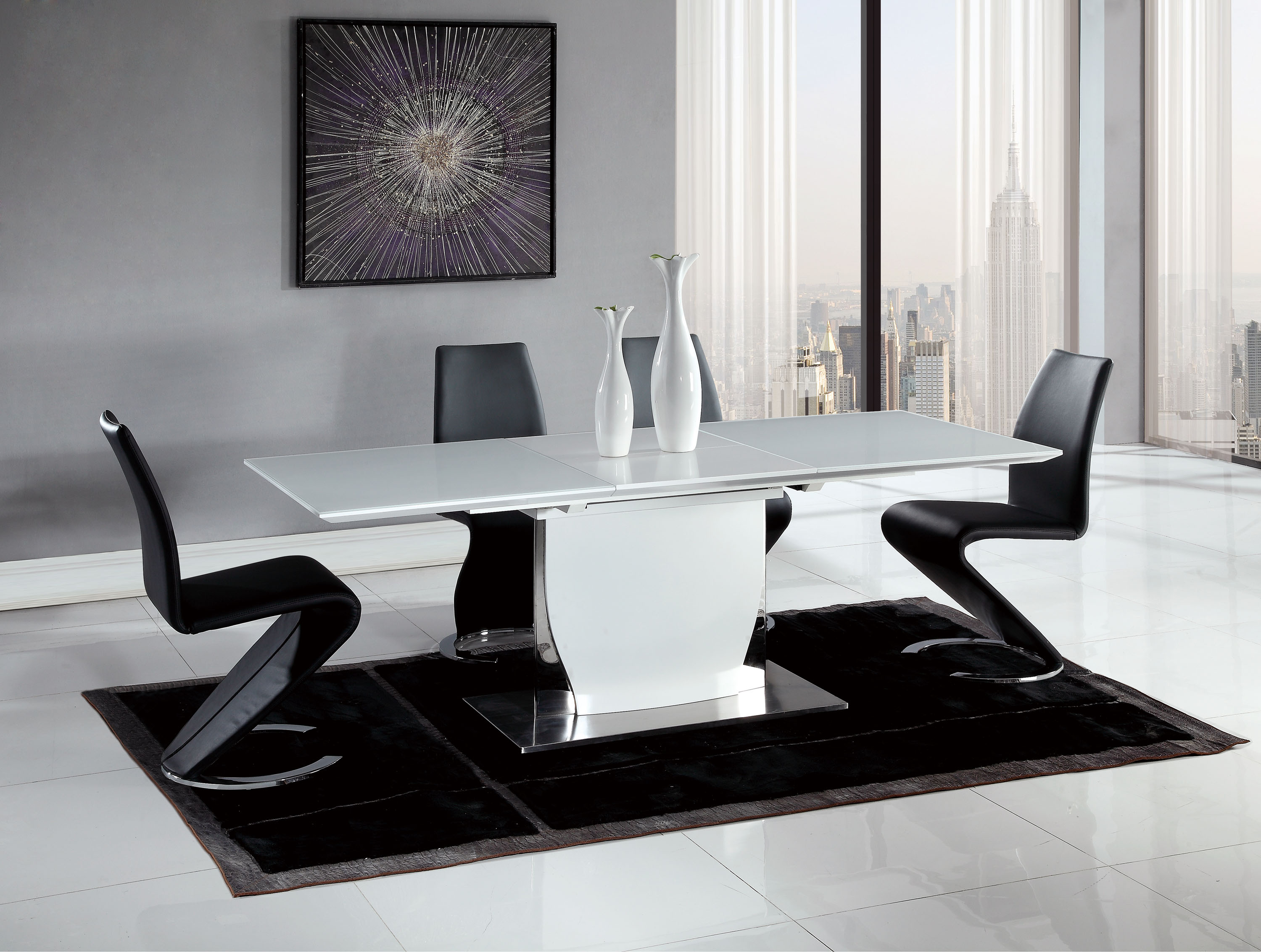 Contemporary black and white dining set with elegant black for Black and white dining set