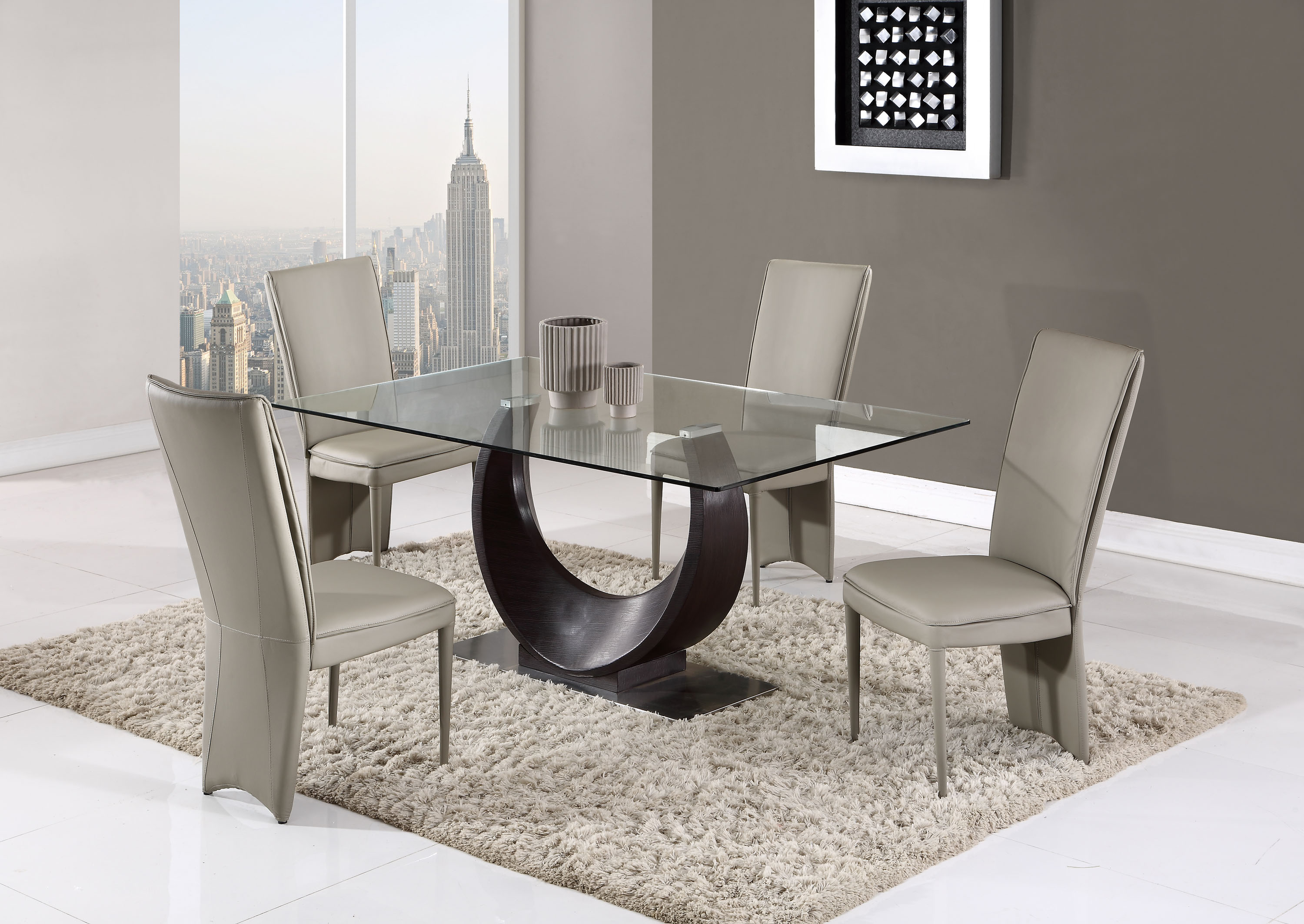 Contemporary Half Moon Glass Table With Taupe Side Chairs