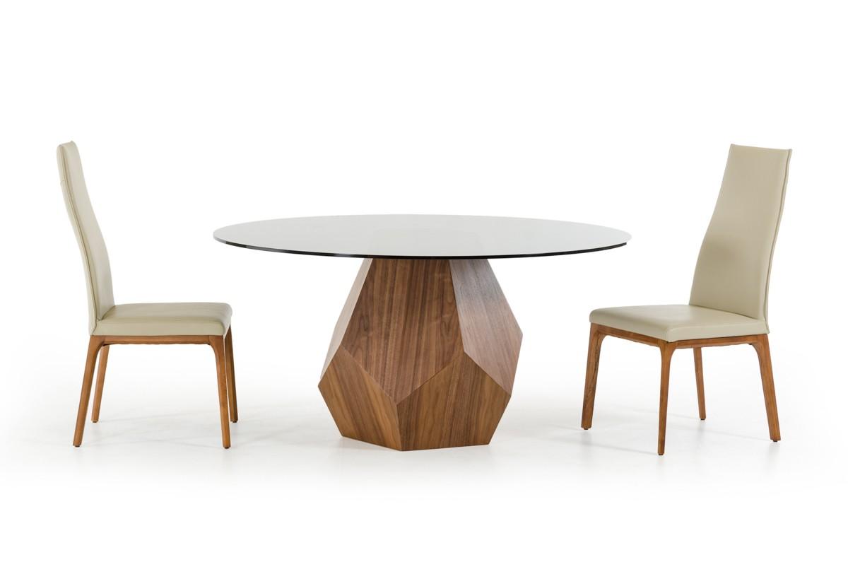 creative geometric walnut base round glass top dining set detroit michigan vig rackham brandi. Black Bedroom Furniture Sets. Home Design Ideas