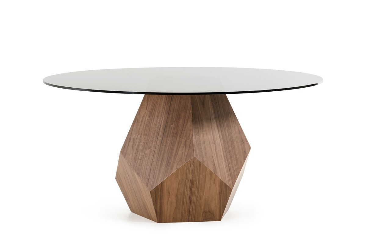 Creative Geometric Walnut Base Round Glass Top Dining Set - Click Image to Close