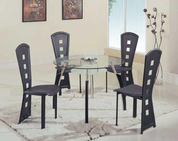 modern high end round wooden with glass top complete dining room sets