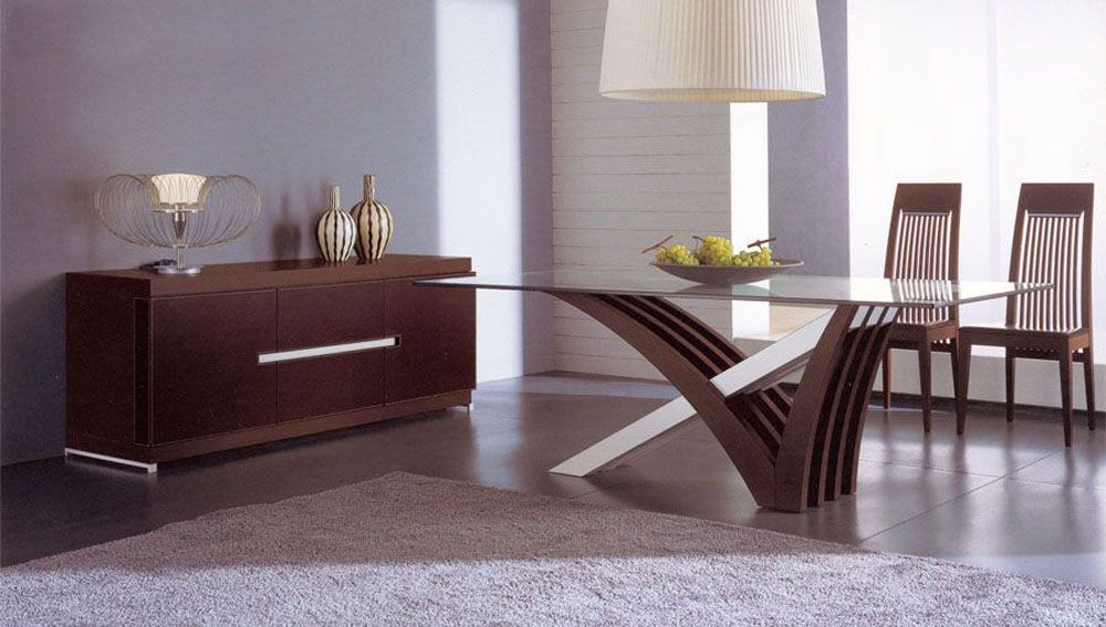 luxury in wood and clear glass top leather italian dining room