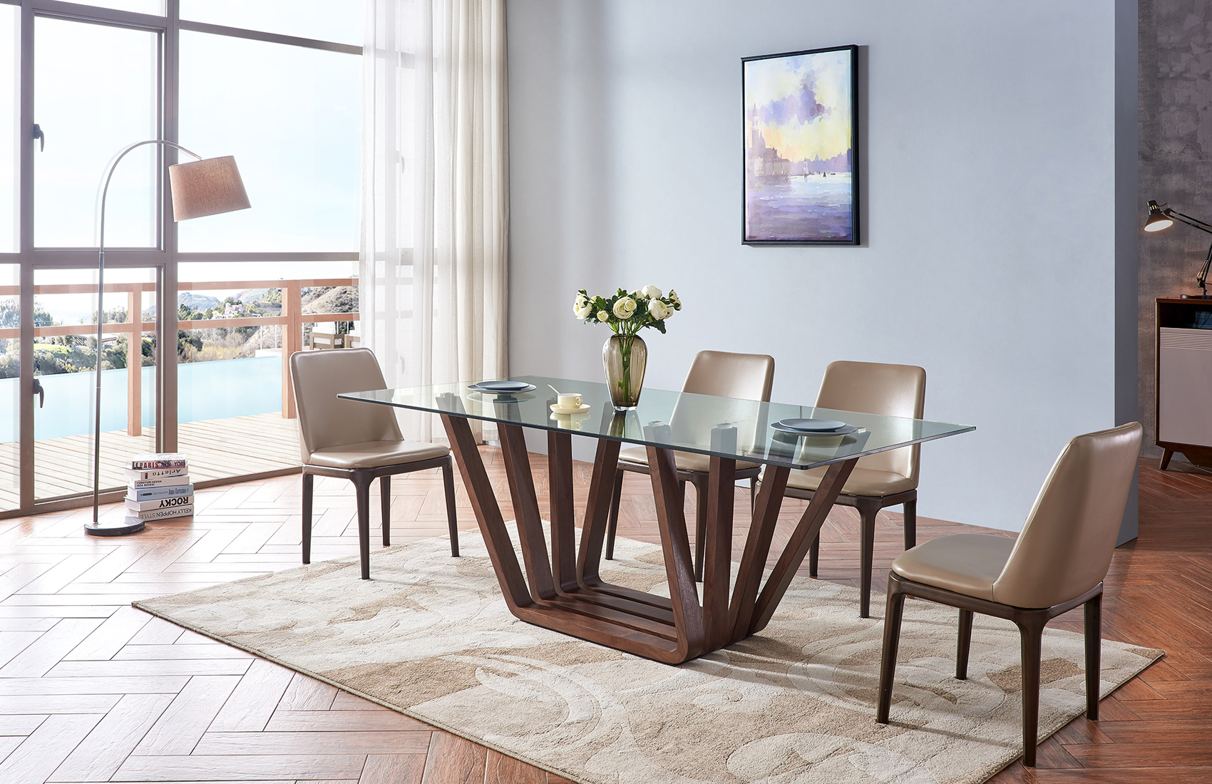 Sophisticated Rectangular Wooden and Clear Glass Top Leather Modern Dining Set Detroit Michigan ...