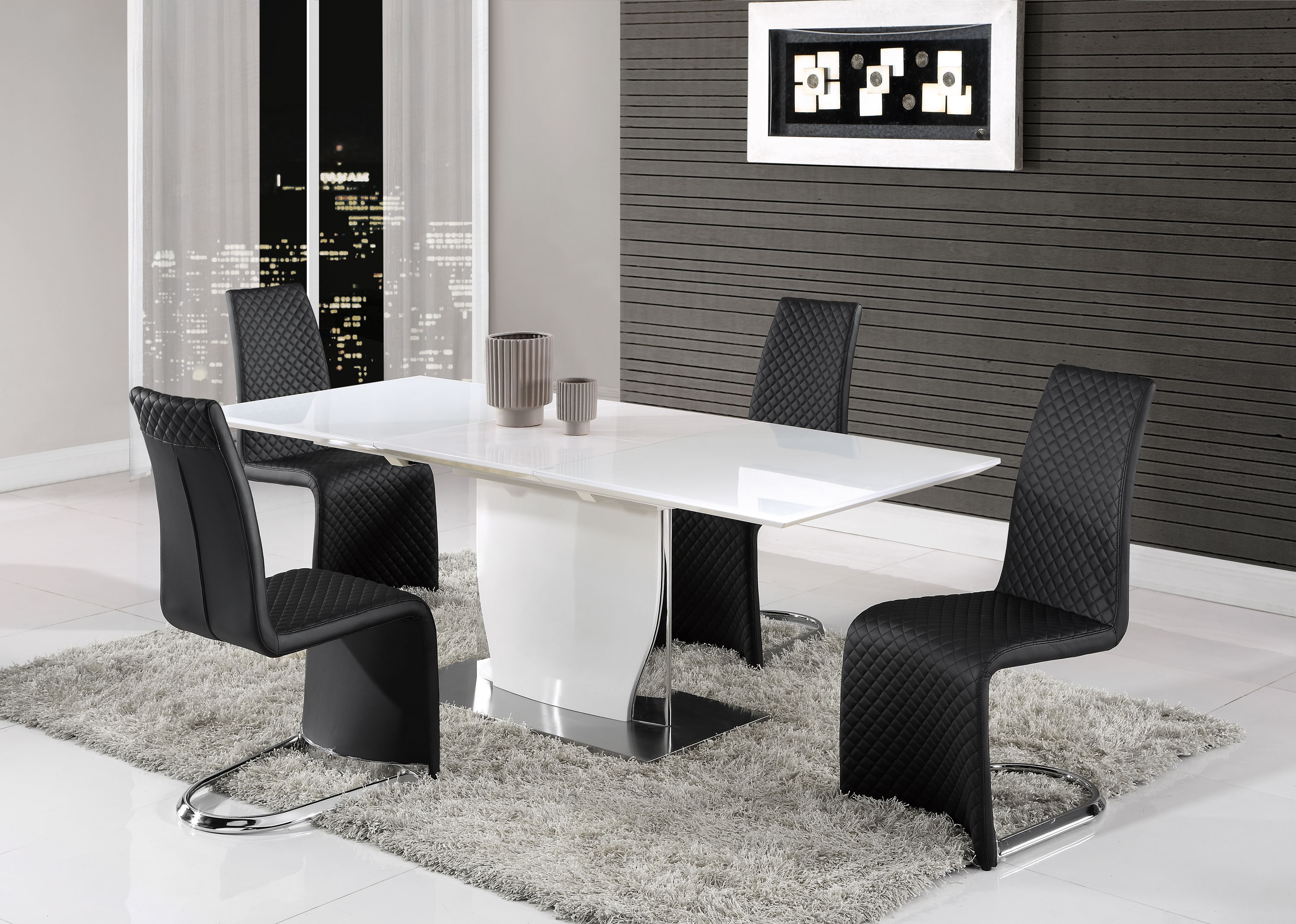 Elegant White Gloss And Chrome Dining Table With Tufted