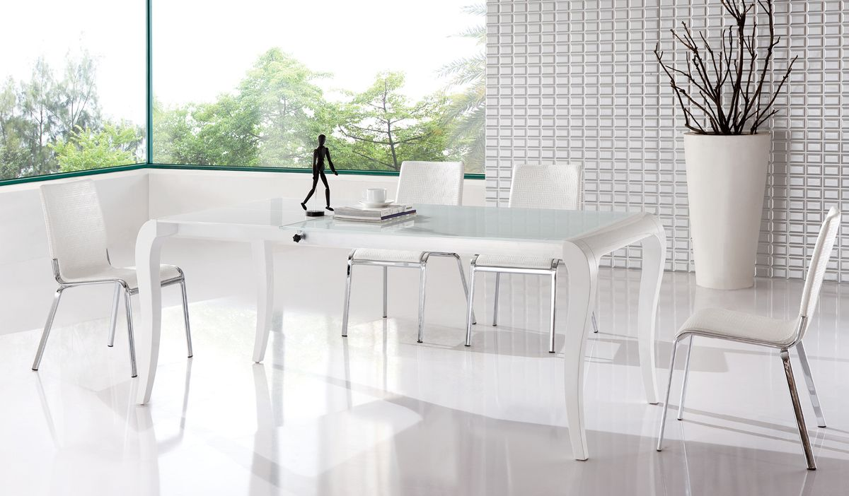 Extendable Table And Four Chairs Contemporary Style