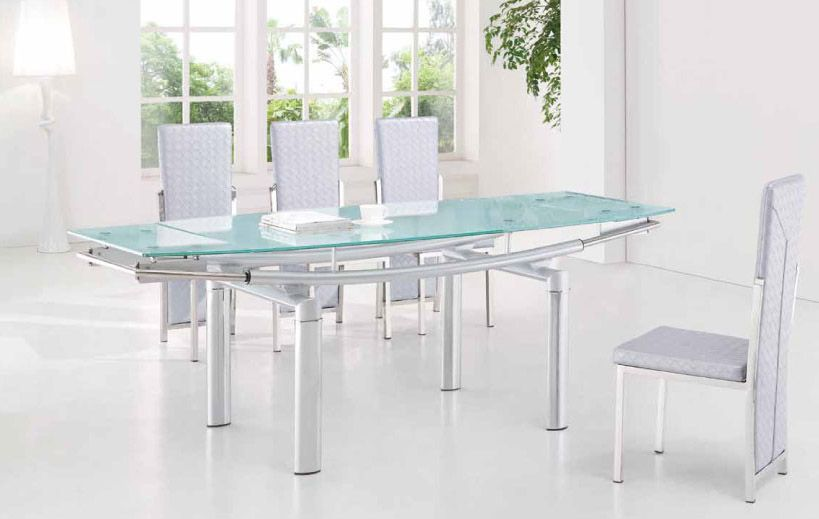 Extendable Frosted Glass Top Leather Dining Furniture Set With Leaf