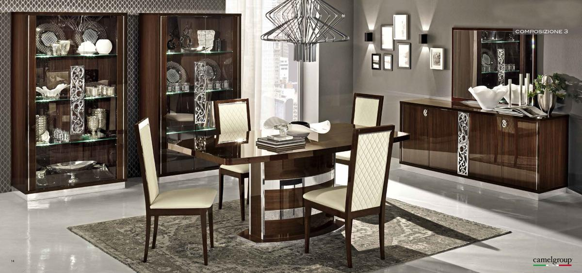 Extendable italian 5 piece kitchen set with chairs fort for Contemporary italian dining room furniture