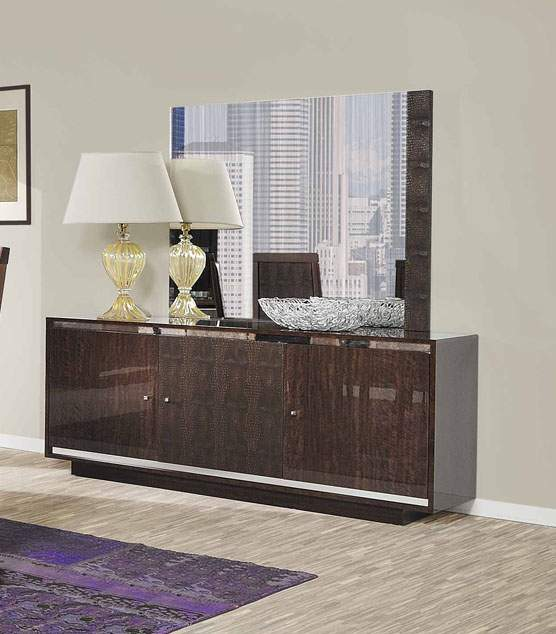 Extendable Rectangular Wood And Leather Italian Modern