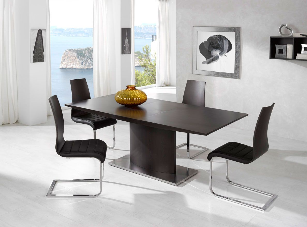Exotic luxury brown top leather contemporary dinette set and chairs long beach california esfdt02 - Contemporary dining room sets furniture ...