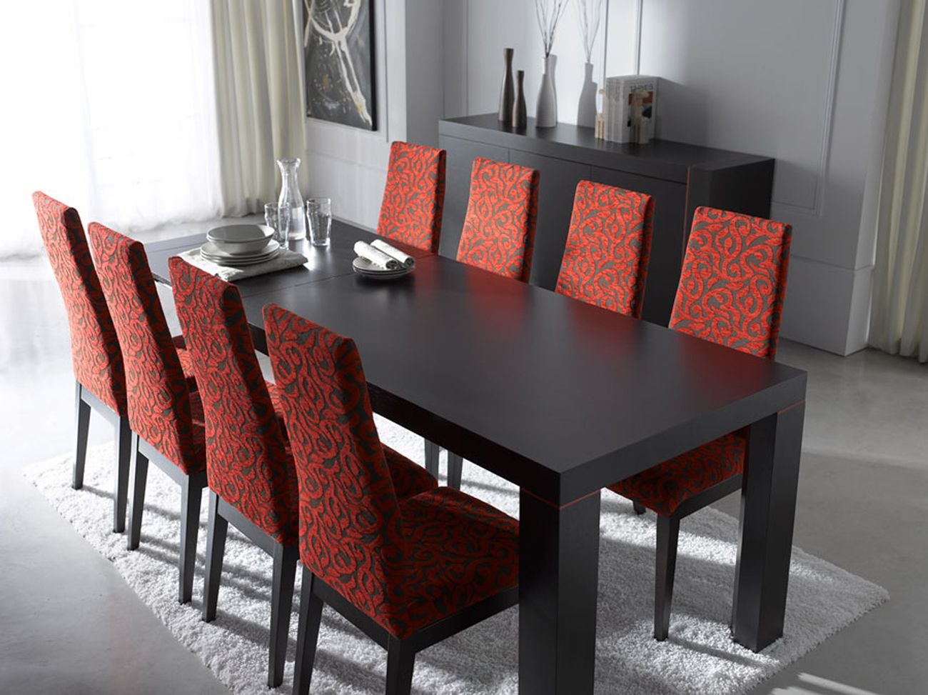 Extendable rectangular in wood fabric seats modern for Contemporary dining set