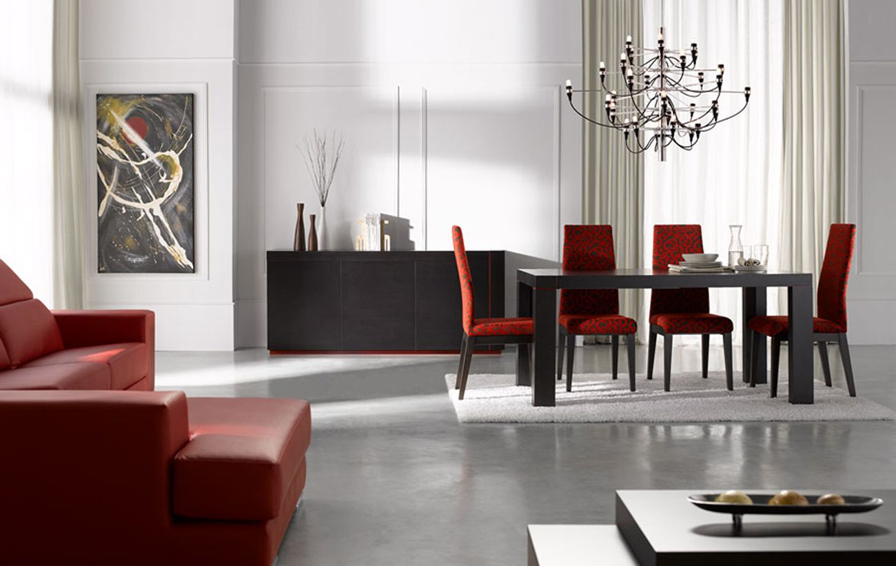 Extendable rectangular in wood fabric seats modern furniture table set chicago illinois esfine - Modern dining room ...