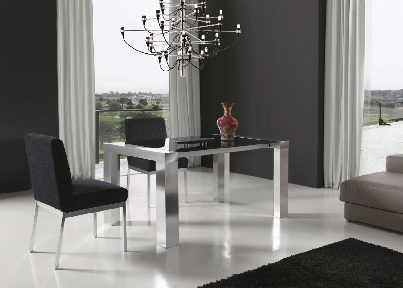 Extendable Rectangular In Wood Glass Top Fabric Seats Modern Dinner Table Set