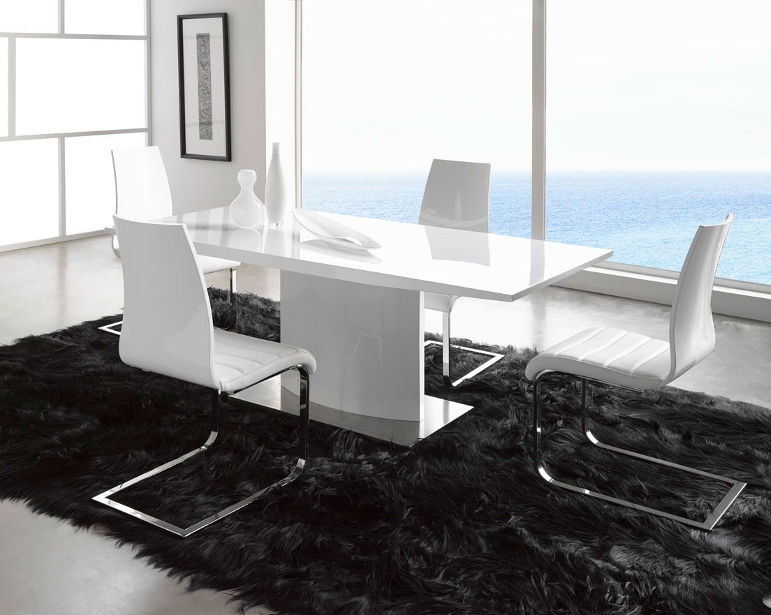 Rectangular Shape White Lacquer Luxury Modern Dining Set Contemporary