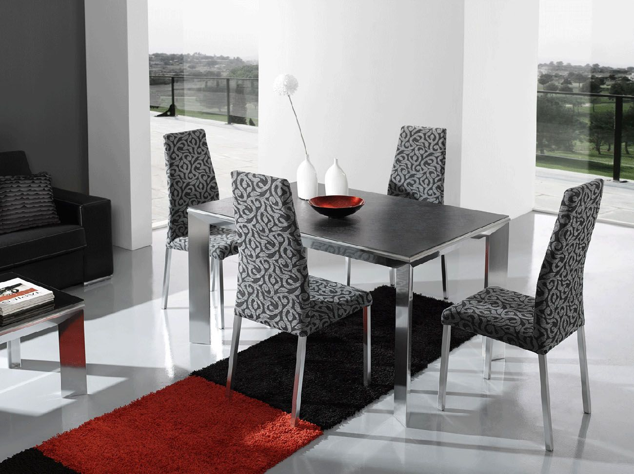 Made In Spain Fabric Seats Designer Table And Chairs Set New York New