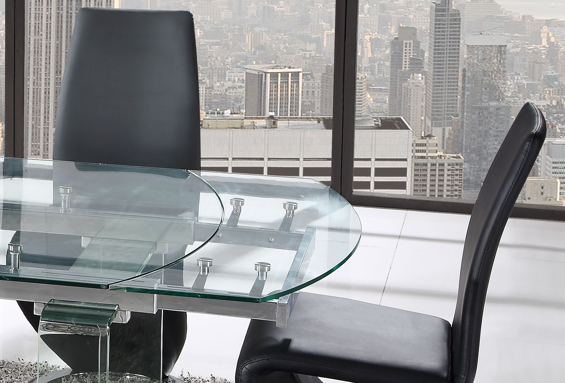 Gorgeous Extendable Floating Table with Black Leather Chairs - Click Image to Close