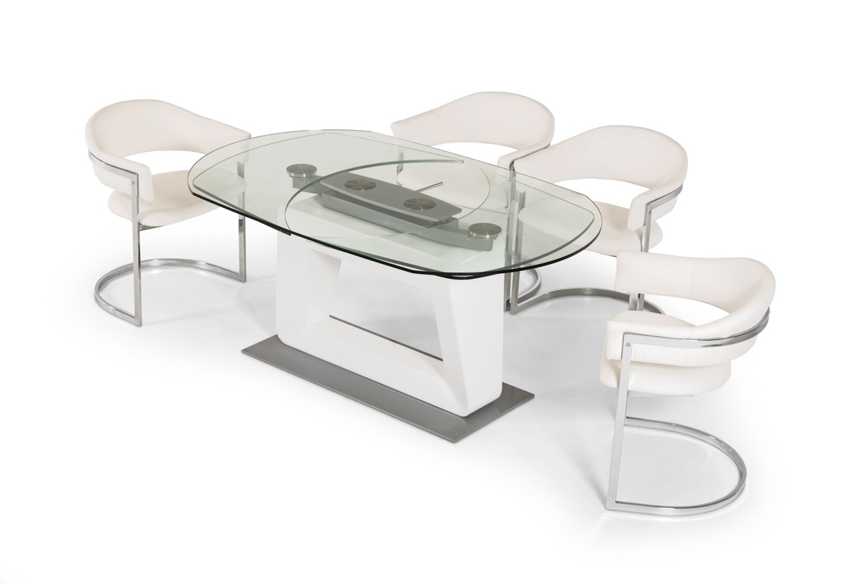 Contemporary Extendable Glass Dining Table With Swiveling Mechanism