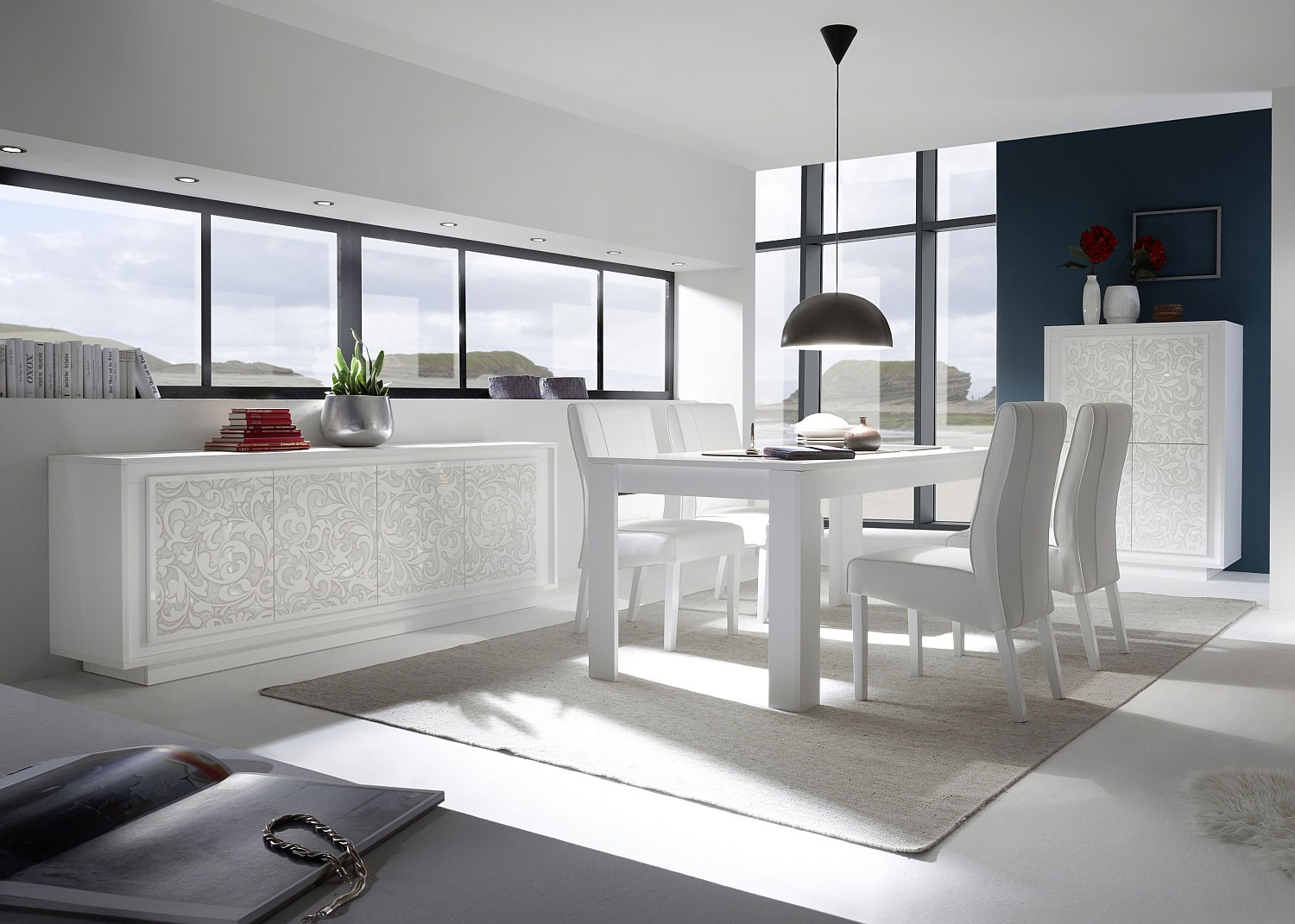 Memphis Modern Simple Dining Room: Contemporary Elegantly Styled White Color Dining Room