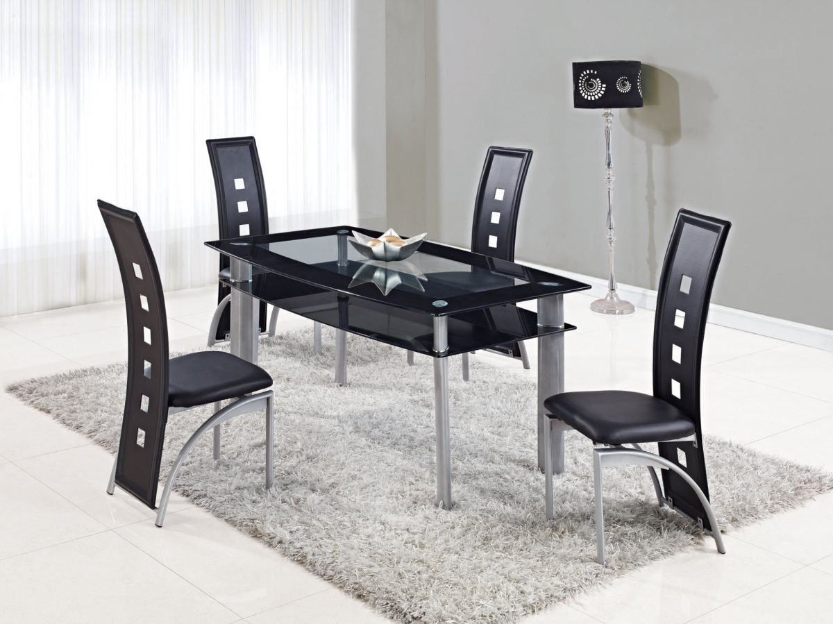 Extendable Rectangular Frosted Glass Top Leather Modern Dining Set With Leaf