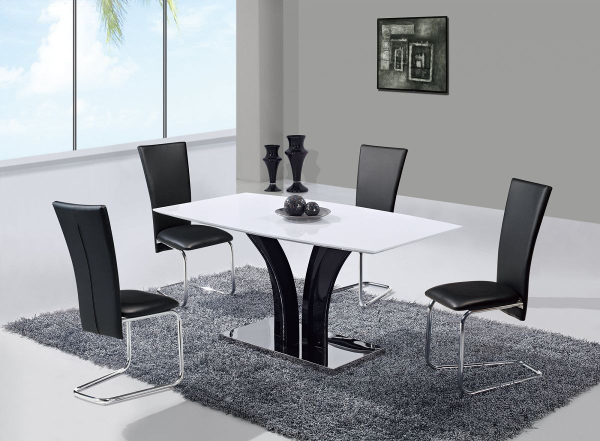 Extendable Frosted Glass Top Leather Designer Table And Chairs Set With Leaf