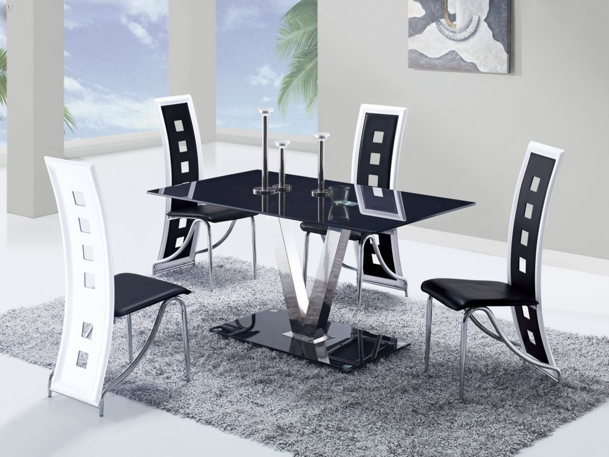Fixed black glass top leather dinette tables and chairs for Modern dining table and chairs set