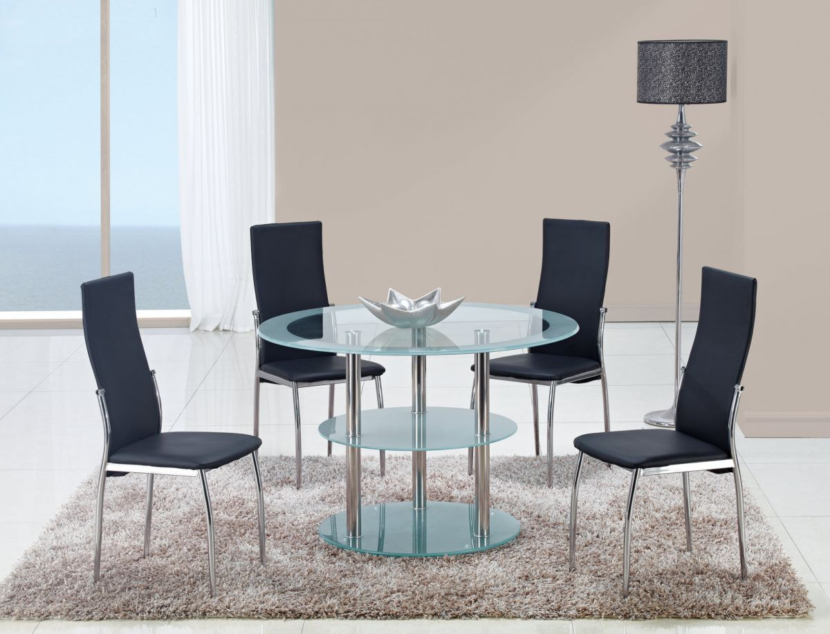 Contrasting black or white contemporary dining room set for Black white dining room set