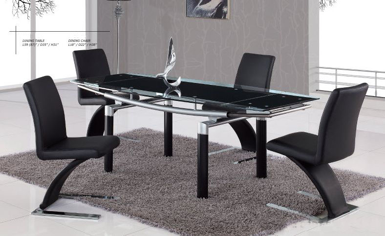 Graceful Rectangular Clear Glass Top Designer 5 Pcs Table