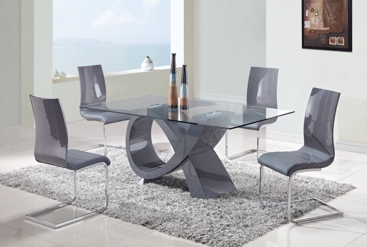 High End Rectangular In Wood Clear Glass Top Leather Modern Dining Table Sets Dallas Texas Gf989ds