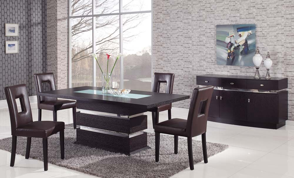 Sophisticated Rectangular Wood And Frosted Glass Top Leather Modern Dining Se