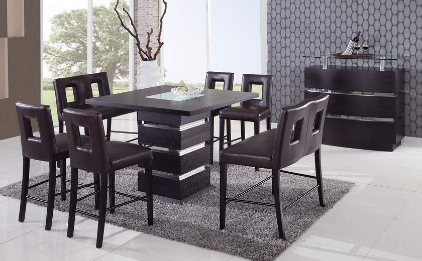 Unique sqaure wood and frosted glass top leather modern for Designer dinette sets