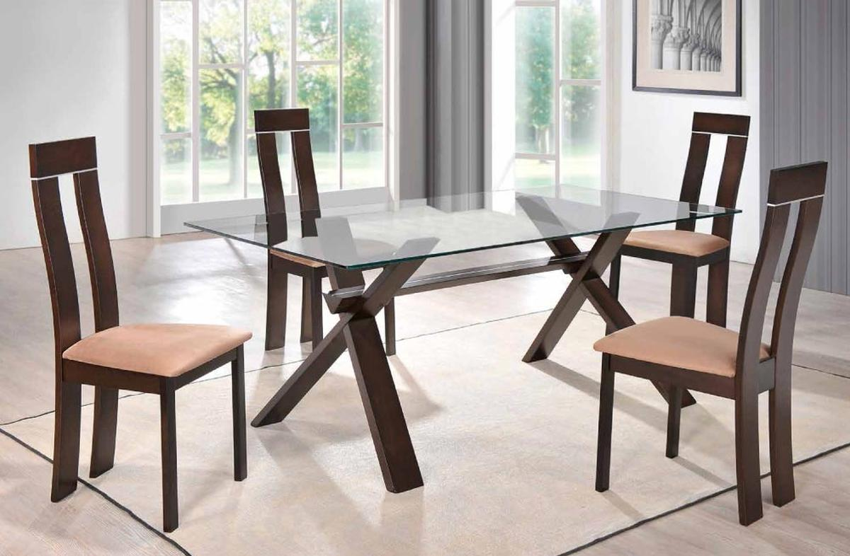 Sophisticated Rectangular In Wood Clear Glass Top Dining Set Furniture Indianapolis Indiana Gf6846