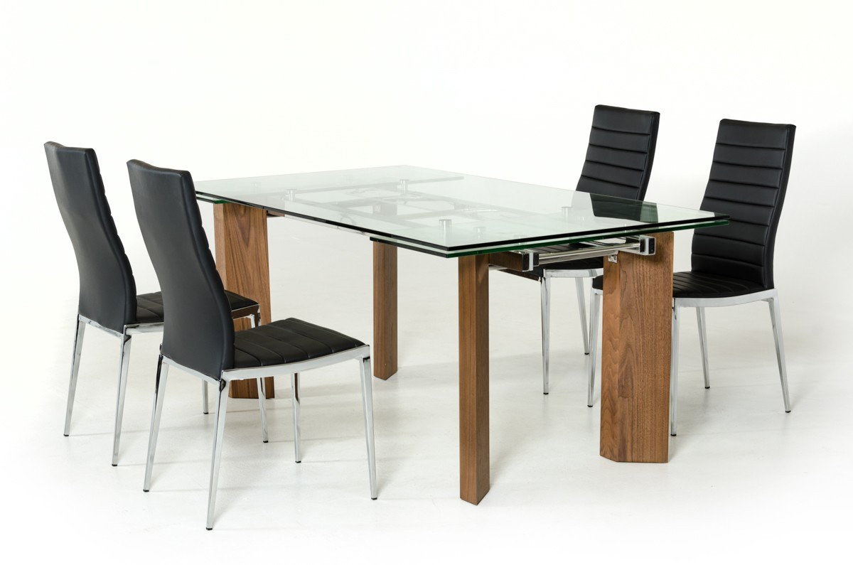 Modern glass top extendible dining table with wooden legs for Wood modern dining table