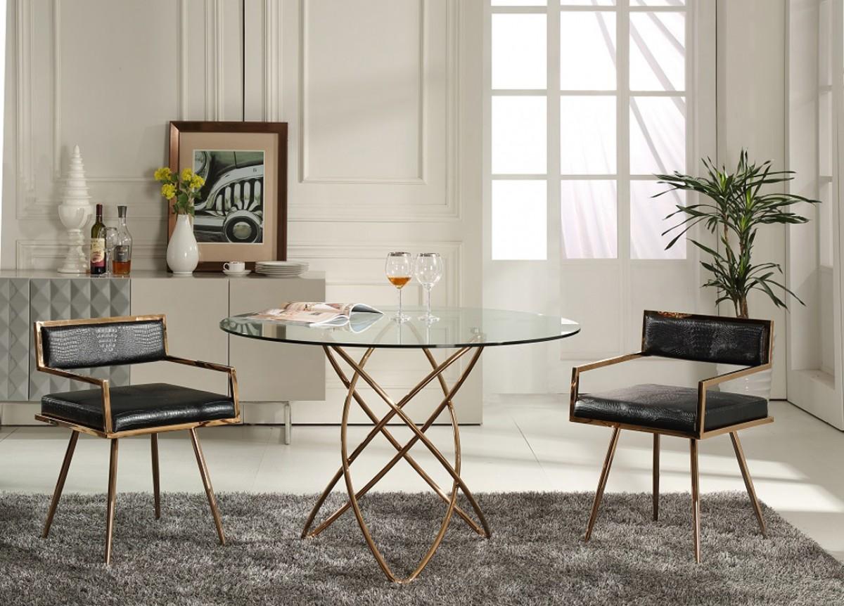 Elegant Round Tampered Glass Rose Gold Base Dining Table