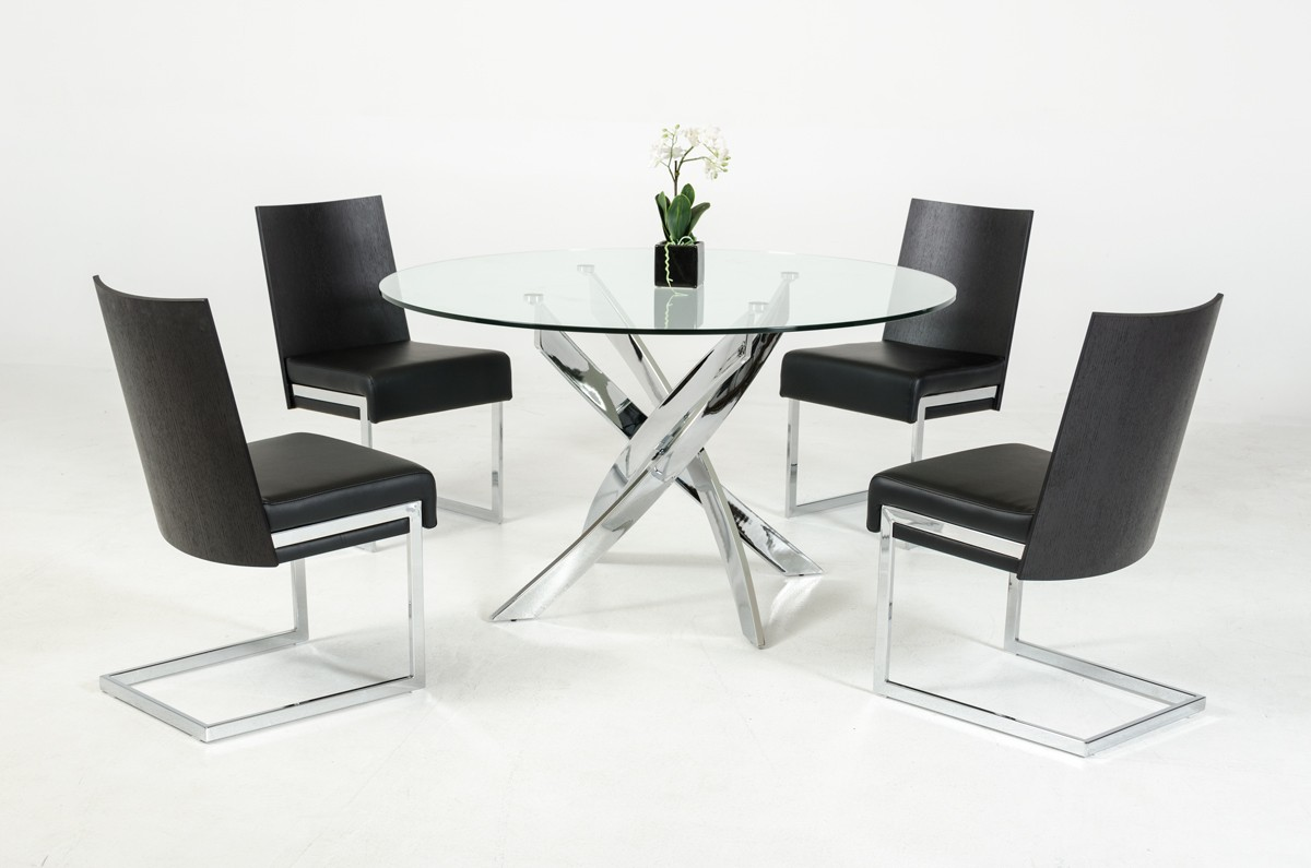 Contemporary round glass top and stainless steel base for Contemporary dining table sets