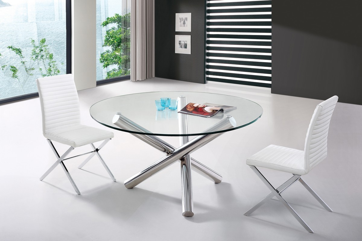 Modern glass round top crisscross chrome base dining set for Designer dinette sets