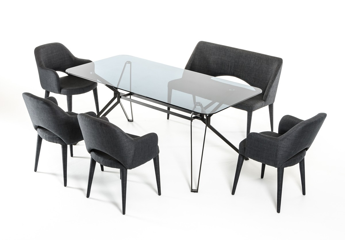 urban industrial design glass and metal grey dining set austin texas