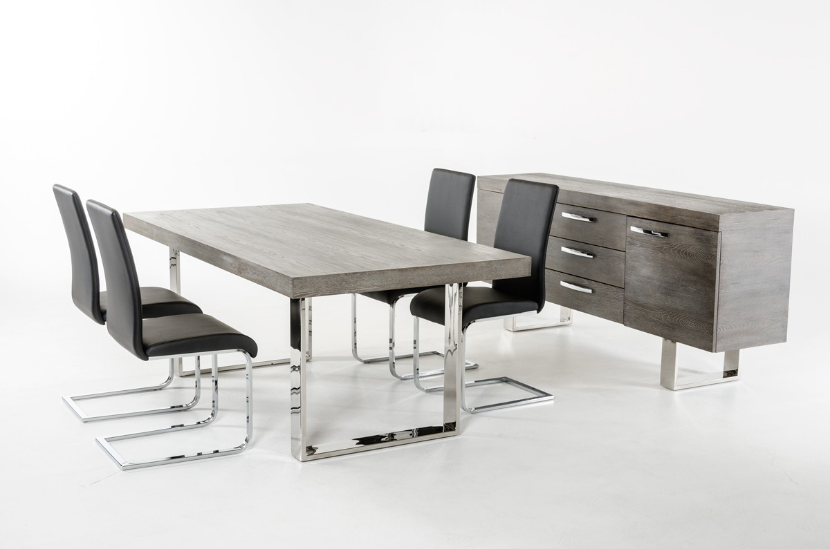 Beautiful grey brush top and stainless steel legs dining for Steel dining table design