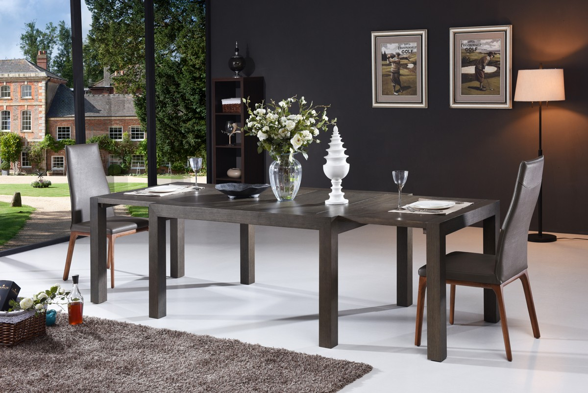 Modern Grey Oak Extendable Dining Table