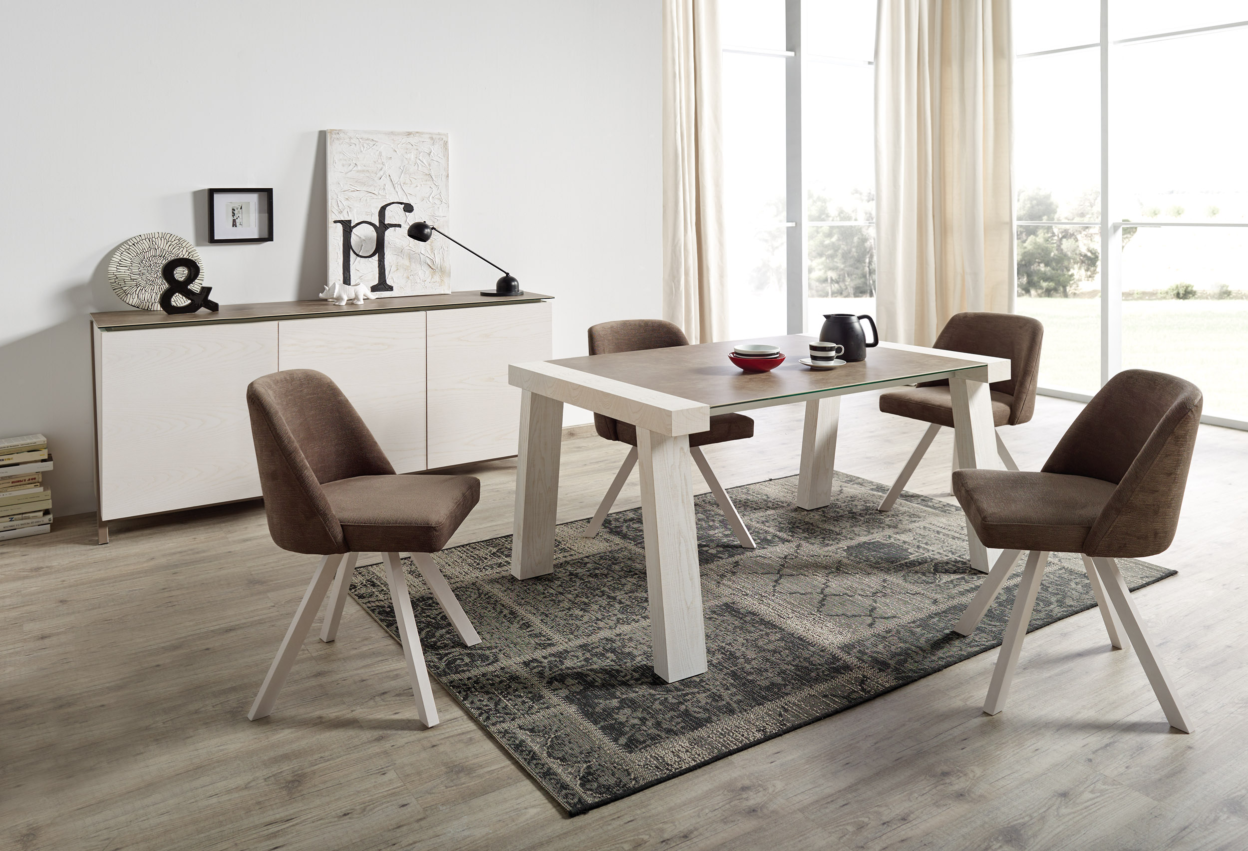 Luxurious rectnagular stone dining room furniture