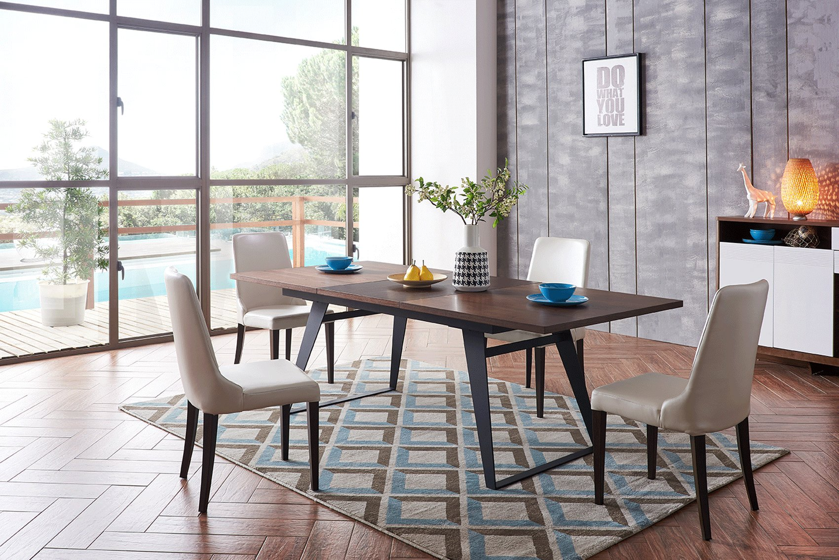 Contemporary Rectangular In Wood Modern Dining Table Sets Long Beach California Esf 1518 1640