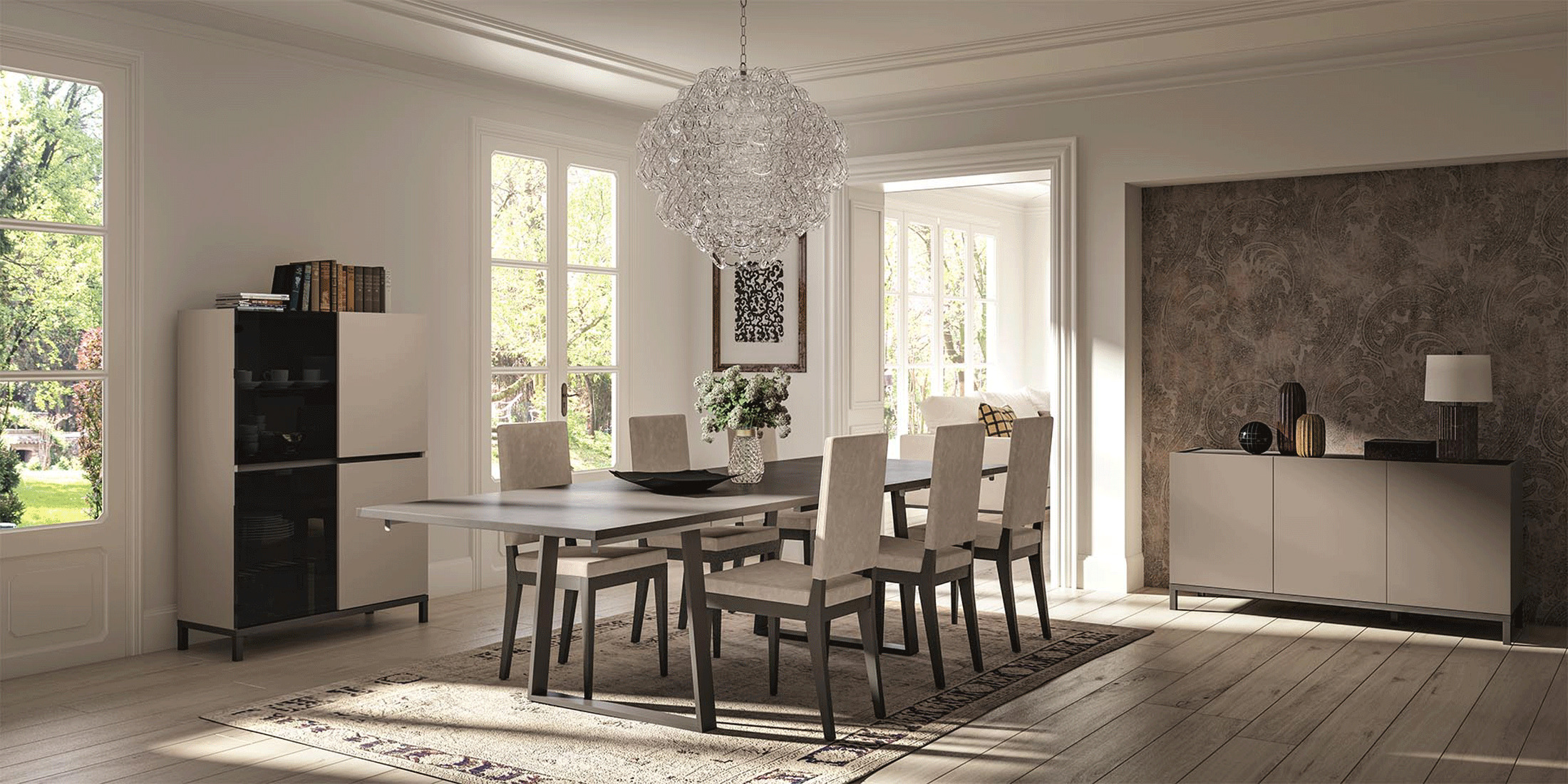 SKU 415288 Contemporary Style Leather Dining Room Design