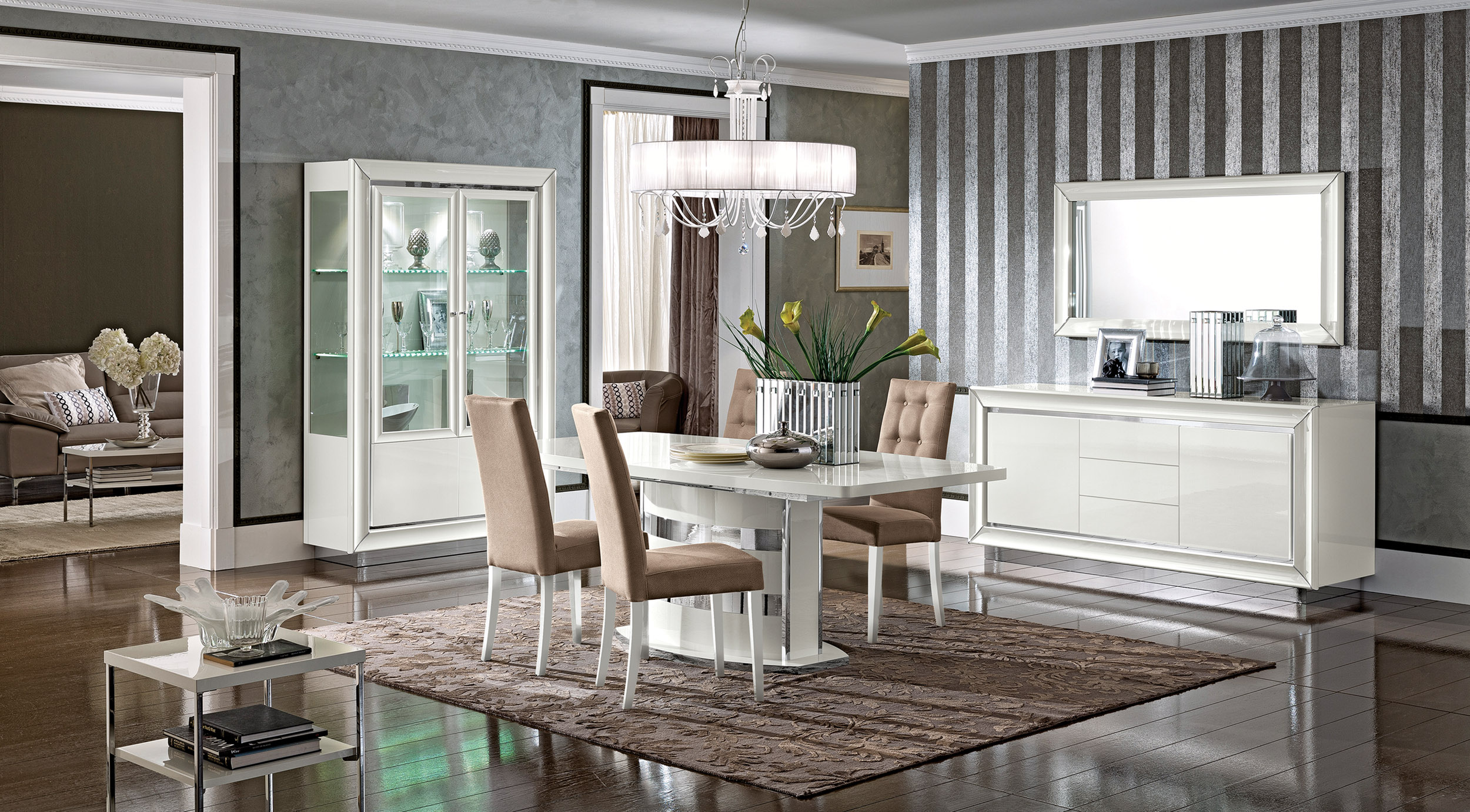 Contemporary Dining Set With Pedestal Base And Matching
