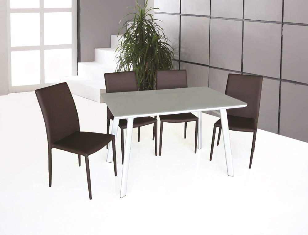 Contemporary rectangular glass top leather 5 pc dinner set for Ultra modern dining room sets