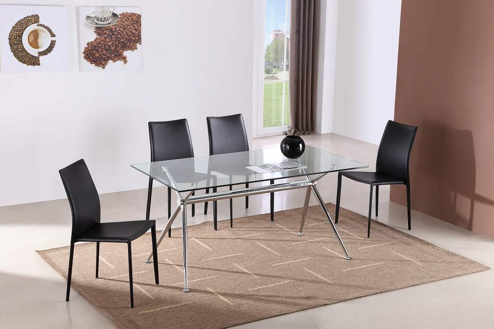 Graceful Rectangular Clear Glass Top Leather Dinette Set